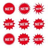 Botão vermelho novo e vetor ajustado do ícone do texto sinais brancos Imagens de Stock Royalty Free