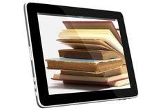 Botín de libros en concepto del iPad 3D Fotografía de archivo