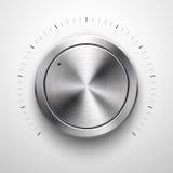 Botón abstracto del volumen de la tecnología con textura del metal Foto de archivo