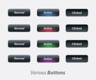Botón activo, equipo no--activ del ux del ui del botón stock de ilustración