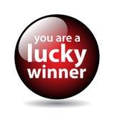 Botón afortunado del ganador ilustración del vector