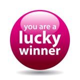 Botón afortunado del ganador stock de ilustración