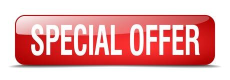 botón aislado del web del cuadrado rojo de la oferta especial