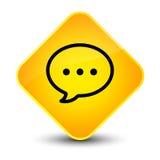 Botón amarillo elegante del diamante del icono de la burbuja de la charla Imagen de archivo libre de regalías