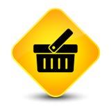 Botón amarillo elegante del diamante del icono del carro de la compra Imagenes de archivo