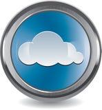 Botón aplicado con brocha del metal y del cromo con la nube Imagenes de archivo