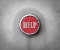 Botón ayuda industrial rojo retro Imagen de archivo