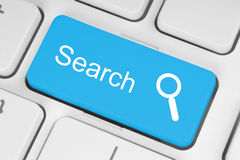 Botón azul de la búsqueda Imagen de archivo libre de regalías