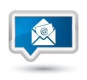 Botón azul de la bandera de la prima del icono del correo electrónico del hoja informativa Fotos de archivo libres de regalías
