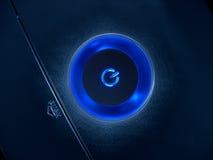 Botón azul de la potencia Fotografía de archivo libre de regalías