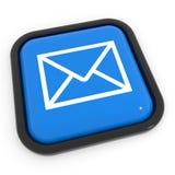 Botón azul del correo. Foto de archivo libre de regalías
