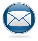 Botón azul del icono del email Fotos de archivo