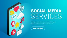 Botón azul del texto del concepto social isométrico de los medios libre illustration