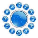 Botón azul del zodiaco Foto de archivo libre de regalías