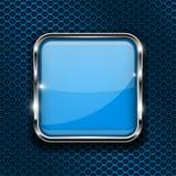 Botón azul en fondo perforado Icono cuadrado del vidrio 3d con el marco metálico libre illustration