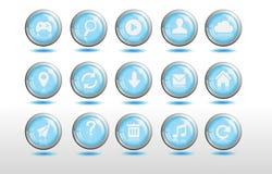 Botón azul fresco del sitio web 3d brillante Imagen de archivo libre de regalías