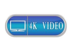 """Botón azul voluminoso con el pictograma y las palabras """"4K VI Fotografía de archivo"""
