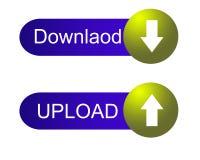 Botón azul y amarillo de la transferencia directa y de la carga por teletratamiento Foto de archivo