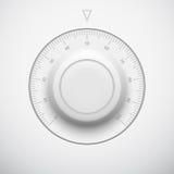 Botón blanco del volumen de la tecnología con la escala Foto de archivo libre de regalías