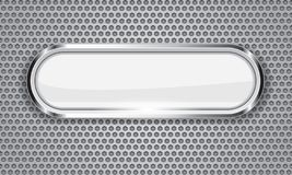 Botón blanco en el metal stock de ilustración