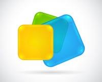 Botón brillante abstracto del Web azul, verde, amarillo Imagen de archivo libre de regalías