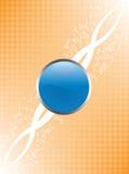 Botón brillante azul y fondo anaranjado Imagen de archivo libre de regalías