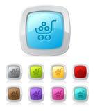 Botón brillante - carro de compras Imagen de archivo libre de regalías