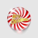 Botón brillante con Feliz Navidad del espiral y del texto Imagen de archivo libre de regalías