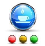 Botón brillante de Cristal de la barra de café Imágenes de archivo libres de regalías