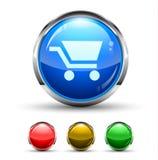 Botón brillante de Cristal del carro de compras Foto de archivo