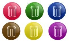 Botón brillante de la basura ilustración del vector