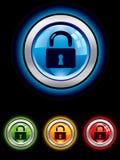 Botón brillante de la seguridad Imagenes de archivo