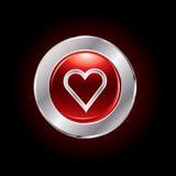 Botón brillante del día de tarjeta del día de San Valentín Foto de archivo libre de regalías