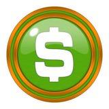 Botón brillante del icono del dólar ilustración del vector