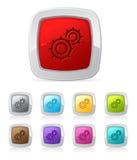 Botón brillante - engranajes Imagen de archivo