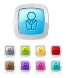 Botón brillante - persona del asunto Fotos de archivo