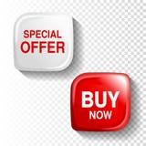 Botón brillante rojo y blanco en el fondo transparente, etiqueta cuadrada plástica con el texto - oferta especial, compra ahora Foto de archivo