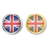 Botón BRITÁNICO de la bandera con vector de la plata y del oro Foto de archivo libre de regalías