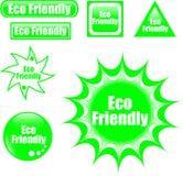 Botón cómodo del Web de la escritura de la etiqueta del eco verde Foto de archivo libre de regalías