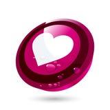 Botón circular del corazón del amor Imagen de archivo