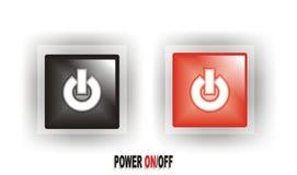 Botón CON./DESC. de la potencia negra/roja Foto de archivo libre de regalías