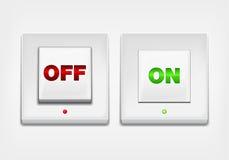 Botón CON./DESC. rojo y verde Imagenes de archivo