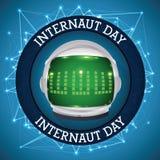 Botón con el astronauta Helmet y las conexiones para conmemorar el día del Internaut, ejemplo del vector Foto de archivo