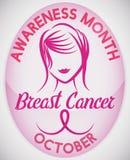 Botón con el diseño elegante de la muchacha para celebrar el mes del cáncer de pecho, ejemplo del vector ilustración del vector