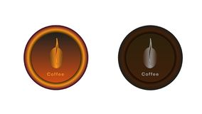 Botón con el interruptor del grano de café stock de ilustración