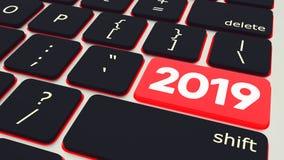 Botón con el teclado 2019 del ordenador portátil del texto representación 3d stock de ilustración