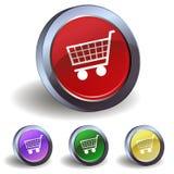 Botón con un carro de la compra Imagen de archivo libre de regalías