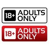 Botón contento de los adultos solamente. Sello del límite de edad. stock de ilustración