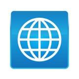 Botón cuadrado azul brillante del icono del mundo libre illustration