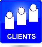 Botón cuadrado azul de los clientes Foto de archivo libre de regalías